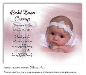 Light Pink Illuminated Cross Thank You Photo Baptism | Christening Magnet