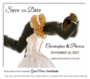 Light-Skin-Blonde-Dark-Skin-Black-Hair-Save-the-Date-Humorous Wedding Magnet