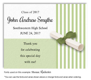 Lime Green Striped Thank You Graduation Magnet