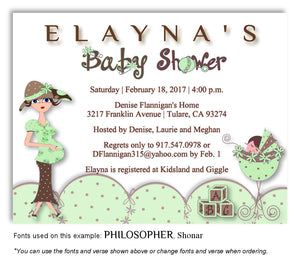Pale Green Mommy and Me Invitation Baby Shower Magnet
