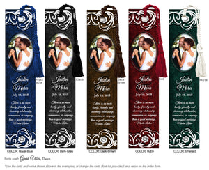 Swirl Bordered Wedding Photo Bookmark