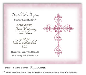 Pink Simple Filigree Thank You Baptism | Christening Magnet
