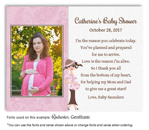 Pink Mommy Thank You Photo Baby Shower Magnet