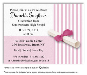 Pink Striped Invitation Graduation Magnet