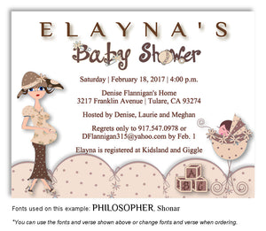 Tan Mommy and Me Invitation Baby Shower Magnet