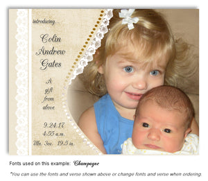 Tan Photo Birth Announcement Magnet