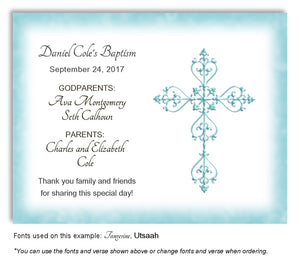 Light Turquoise Simple Filigree Thank You Baptism | Christening Magnet