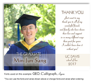 White Photo Thank You Graduation Magnet