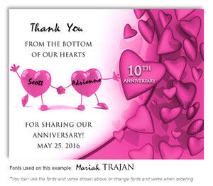Hot Pink Dancing Hearts Thank You Anniversary Magnet