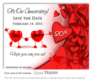 Red Dancing Hearts Save the Date Anniversary Magnet
