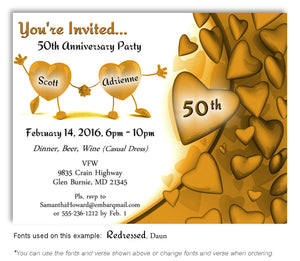 Gold Dancing Hearts Invitation Anniversary Magnet