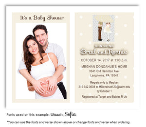 Bisque Parents Invitation Photo Baby Shower Magnet