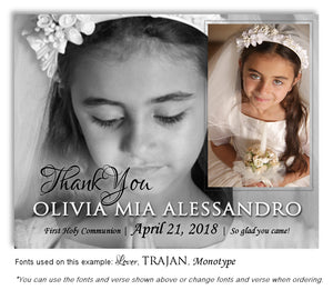 Black-White and Color Thank You Communion Photo Magnet