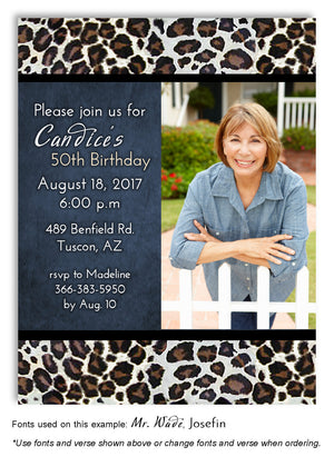 Blue Leopard Invitation Birthday Photo Magnet
