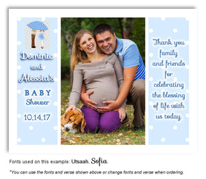 Blue Parents Thank You Photo Baby Shower Magnet