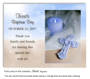 Blue and Tan Candle and Cross Thank you Baptism Magnet