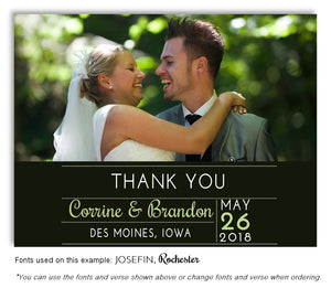 Dark Olive Thank You Wedding Photo Magnet