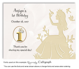 Gold Princess Thank You Birthday Magnet