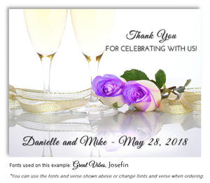Lavender Champagne Roses Thank You Wedding Magnet