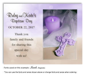 Lavender and Tan Candle and Cross Thank you Baptism Magnet