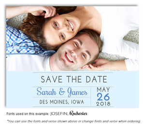 Light Blue Save the Date Wedding Photo Magnet