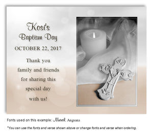 Light Gray and Tan Candle and Cross Thank you Baptism Magnet