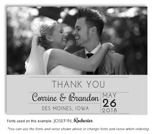 Light Gray Thank You Wedding Photo Magnet