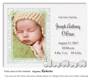 Light Green Photo Birth Announcement Magnet