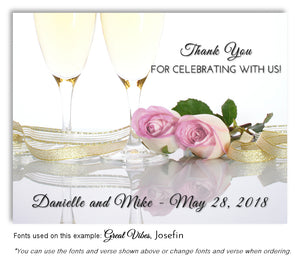 Light Pink Champagne Roses Thank You Wedding Magnet