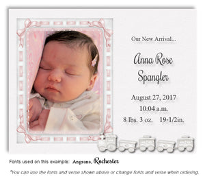 Pink Photo Birth Announcement Magnet