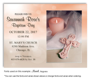 Peach and Tan Candle and Cross Invitation Baptism Magnet