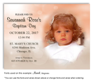 Peach-Tan Two Tone Invitation Photo Baptism Magnet