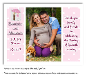 Pink Parents Thank You Photo Baby Shower Magnet