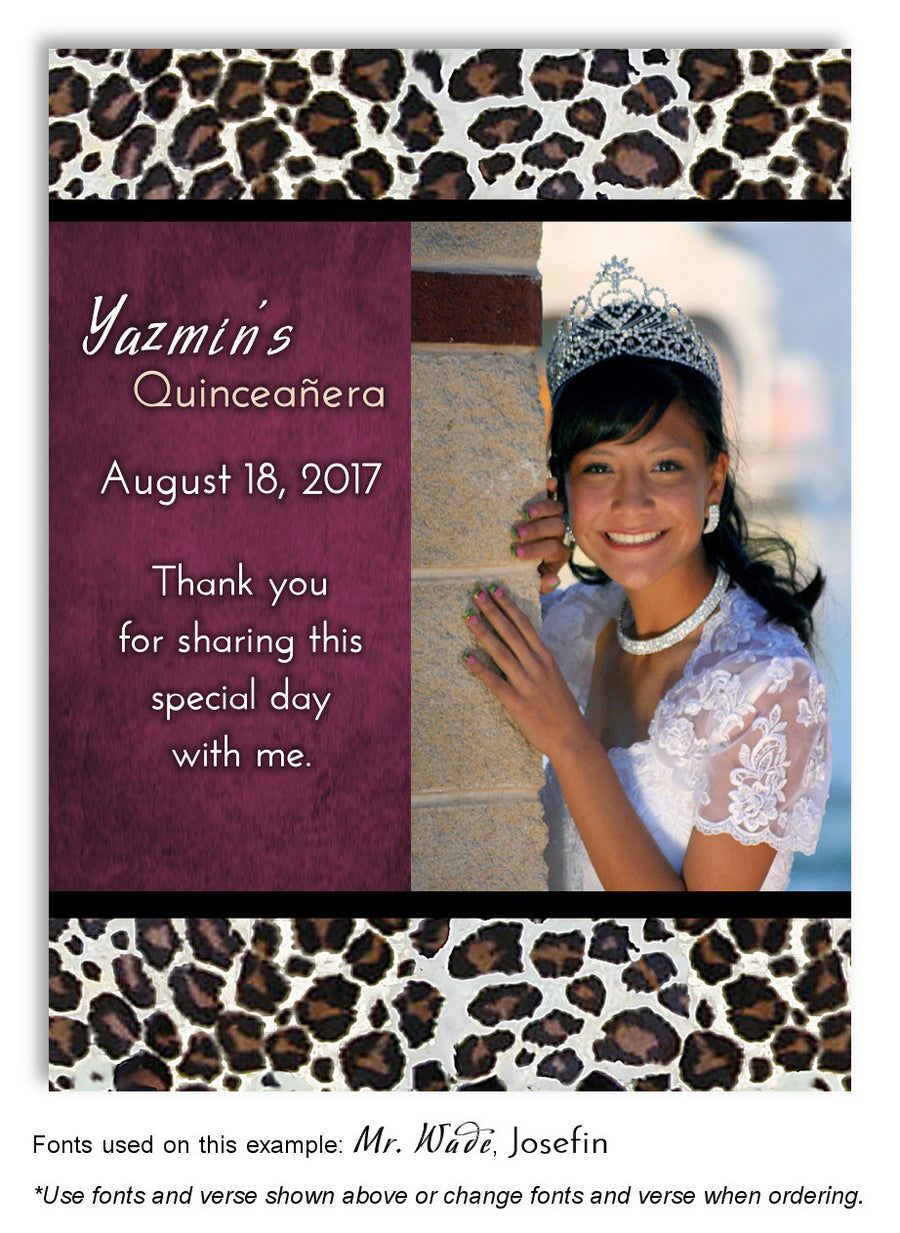 Gray Leopard Thank You Birthday Photo Magnet