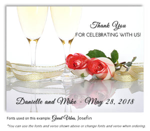 Red Champagne Roses Thank You Wedding Magnet