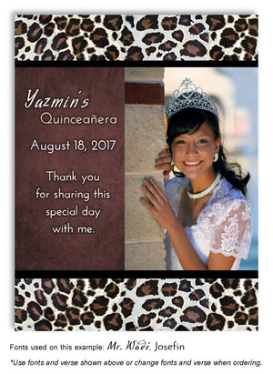 Sienna Brown Leopard Thank You Birthday Photo Magnet