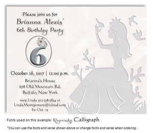 Silver Princess Invitation Birthday Magnet