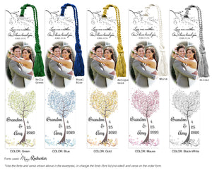 Whimsical Tree Wedding Photo Bookmark