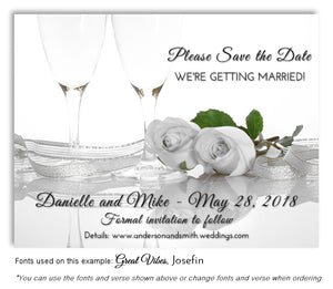 White Champagne Roses Save the Date Wedding Magnet