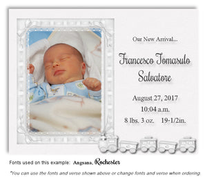 White Photo Birth Announcement Magnet
