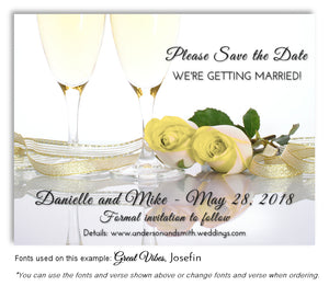 Yellow Champagne Roses Save the Date Wedding Magnet