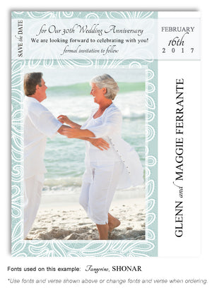 Aqua Save the Date Anniversary Photo Magnet