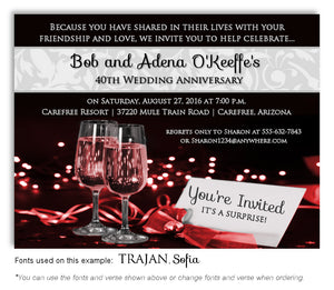 Red Evening Affair Invitation Anniversary Magnet