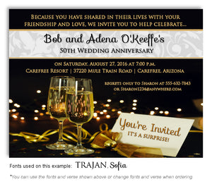 Gold Evening Affair Invitation Anniversary Magnet