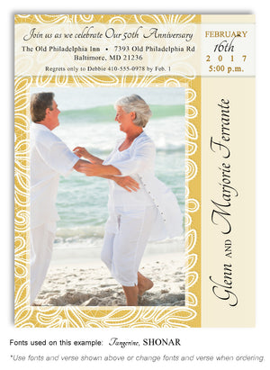 Gold Invitation Anniversary Photo Magnet