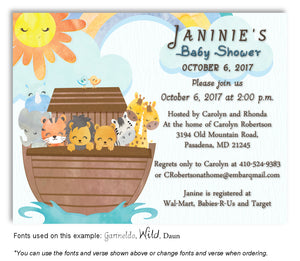 Blue Noah Invitation Baby Shower Magnet