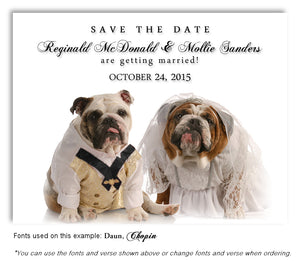 Bulldog Save the Date Wedding Magnet