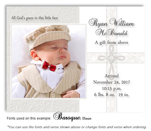 Cream Photo Birth Announcement Magnet
