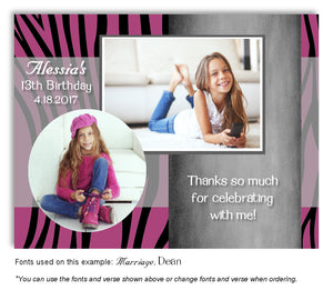 Dark-Pink-Black Zebra Thank You Photo Birthday Magnet