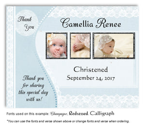 Light Blue Vintage Lace Thank You Photo Baptism Magnet